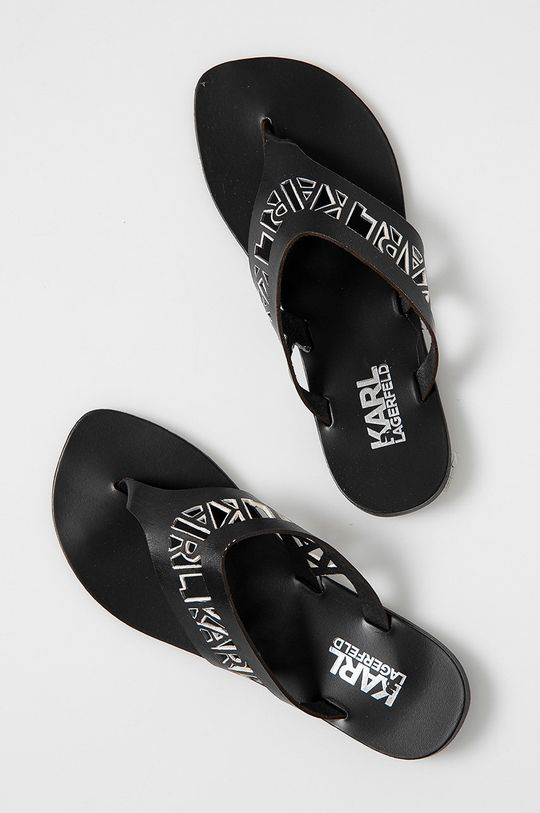 Karl Lagerfeld - Japonki skórzane czarny
