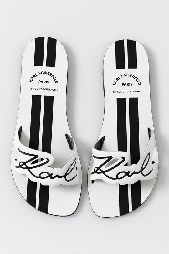 biały Karl Lagerfeld - Klapki skórzane