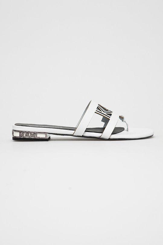 biały Karl Lagerfeld - Klapki skórzane Damski