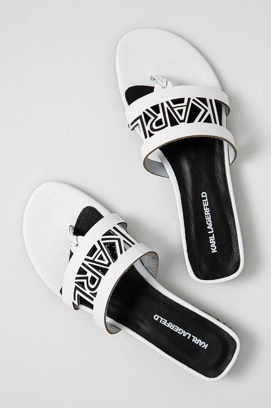 Karl Lagerfeld - Klapki skórzane biały