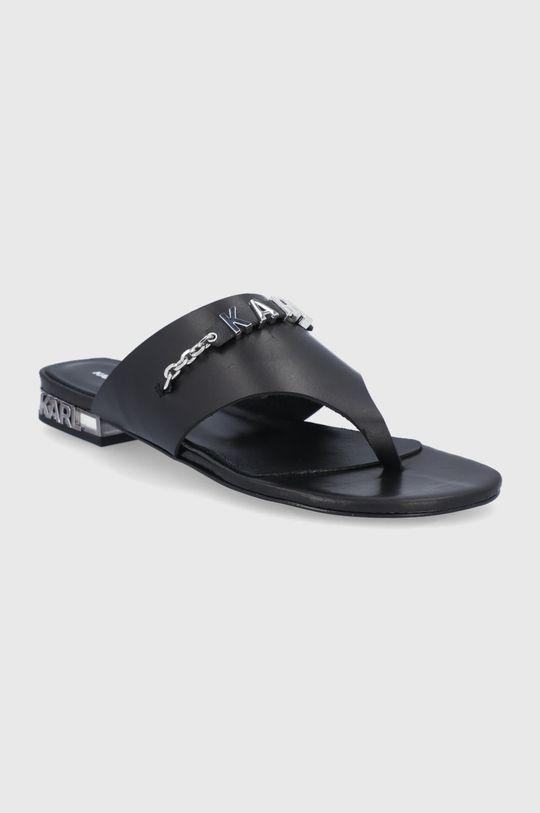 Karl Lagerfeld - Kožené žabky čierna