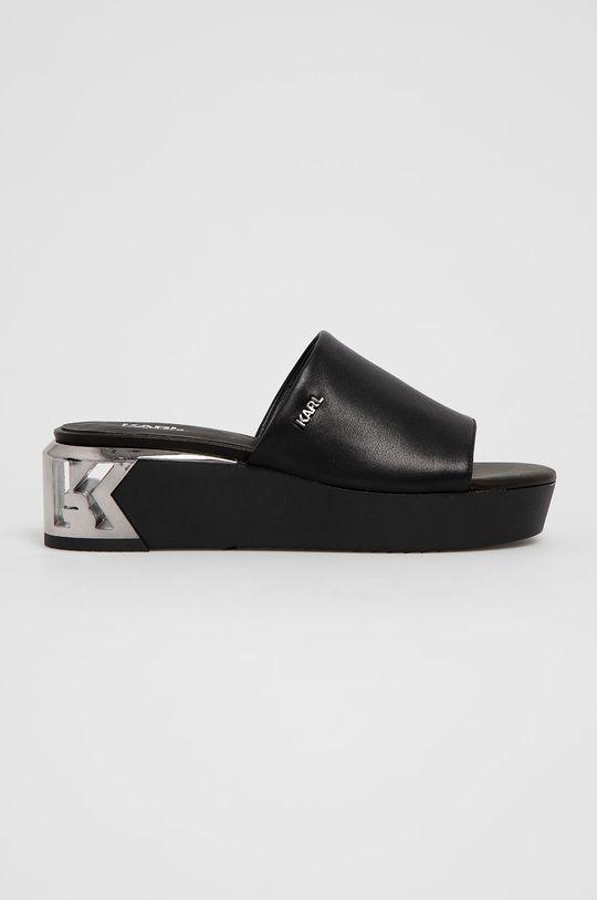 čierna Karl Lagerfeld - Kožené šľapky Dámsky