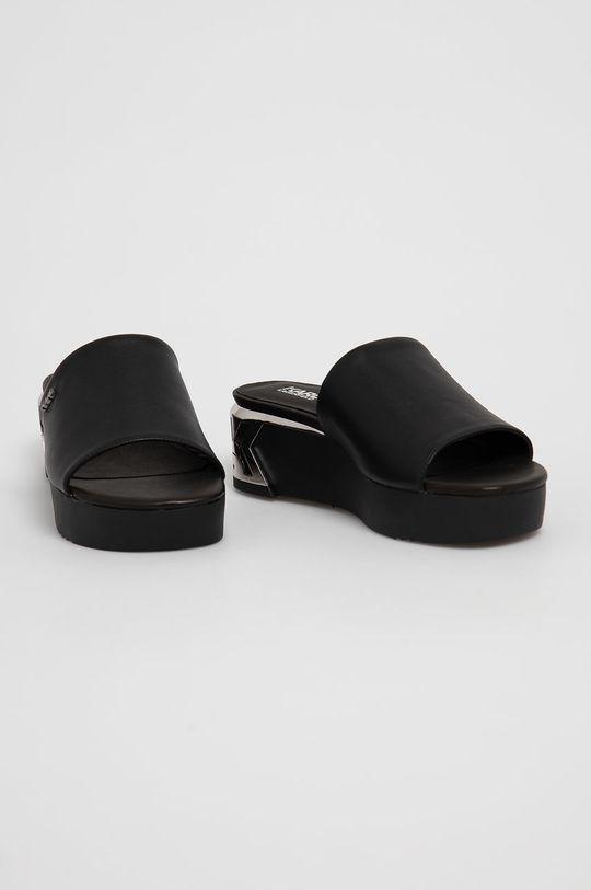 Karl Lagerfeld - Kožené šľapky čierna