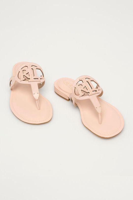 Lauren Ralph Lauren - Kožené žabky pastelově růžová