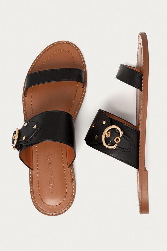 černá Coach - Kožené pantofle