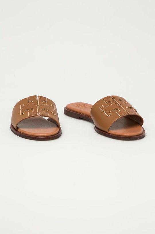 Tory Burch - Kožené pantofle hnědá