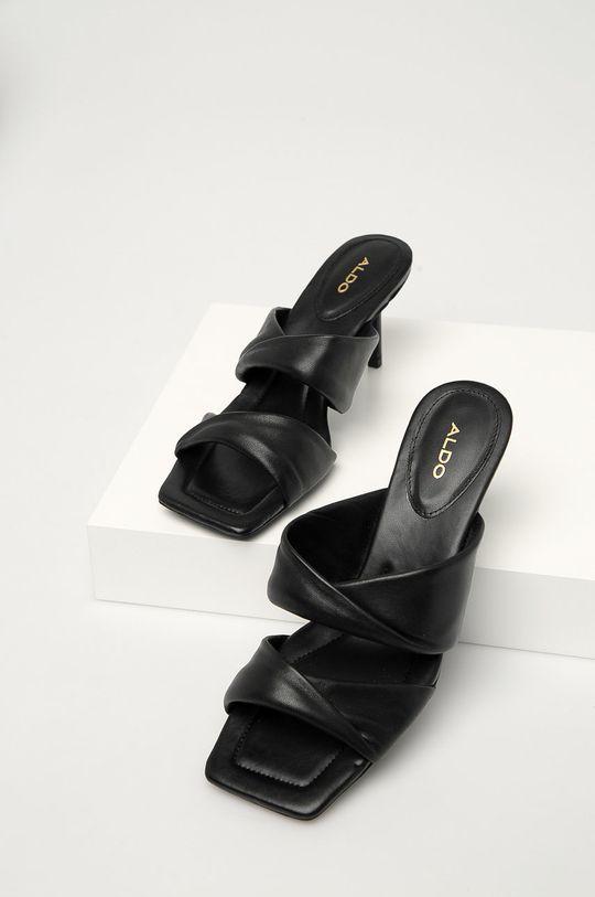 čierna Aldo - Kožené šľapky GALENDRA