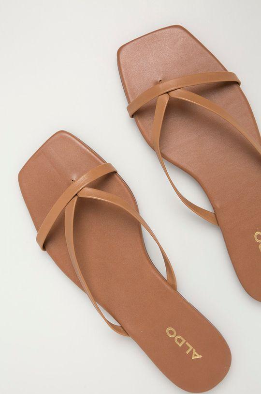 Aldo - Klapki skórzane Kederi brązowy