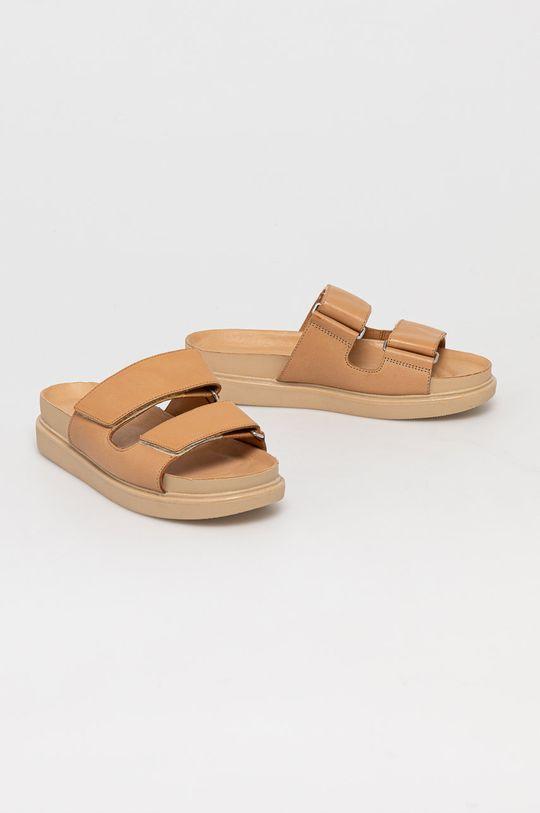 Vagabond - Kožené pantofle Erin béžová