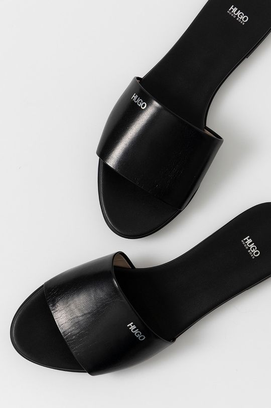 čierna Hugo - Kožené šľapky