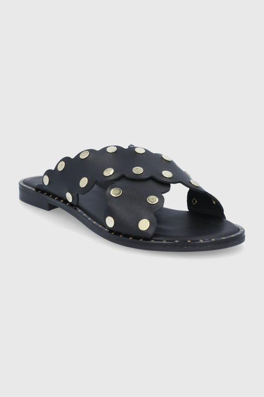 Sisley - Kožené sandály černá