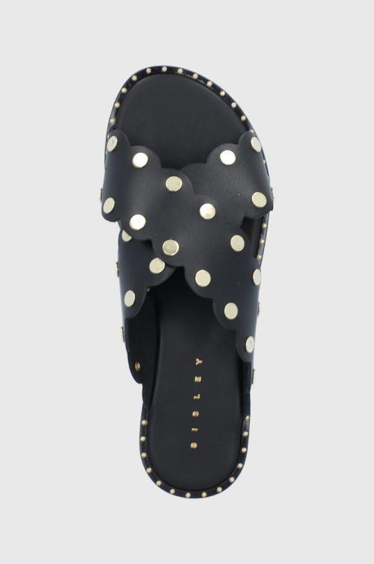 černá Sisley - Kožené sandály
