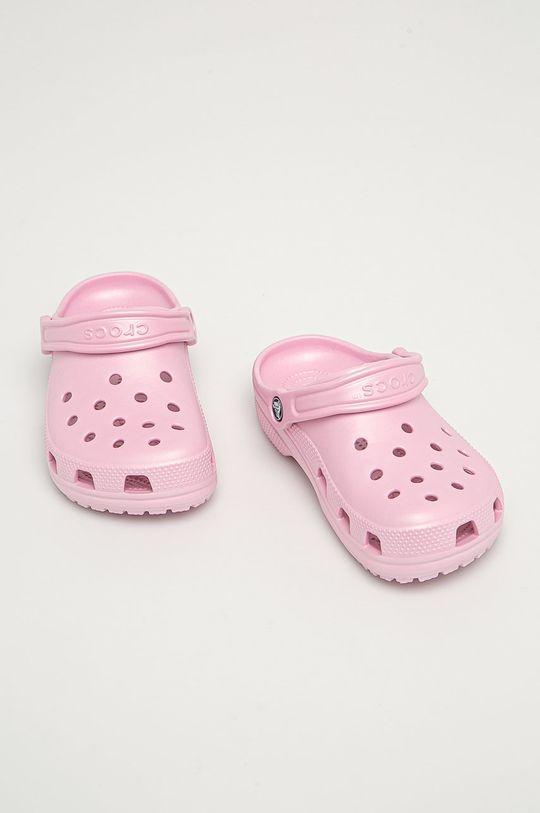 Crocs - Dětské pantofle pastelově růžová