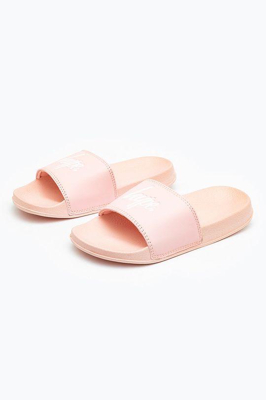 pastelowy różowy Hype - Klapki dziecięce PINK SCRIPT Dziewczęcy