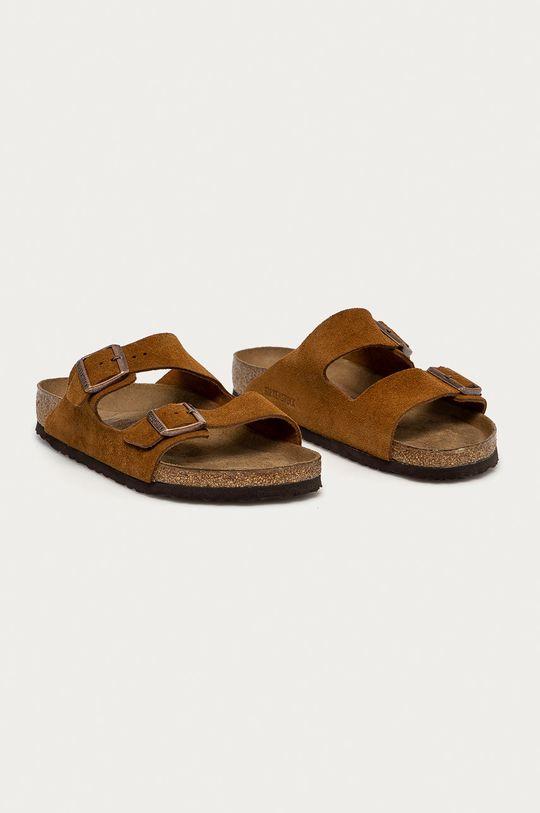 Birkenstock - Kožené šľapky Arizona hnedá