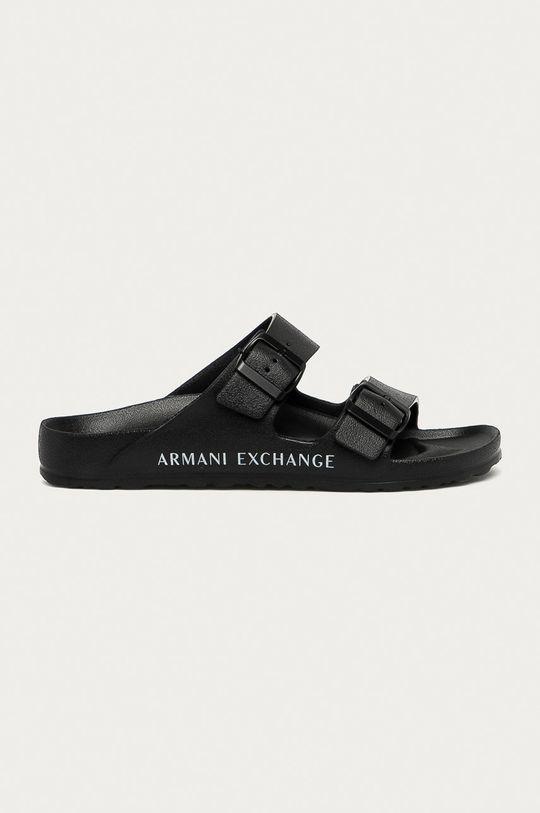 czarny Armani Exchange - Klapki Męski