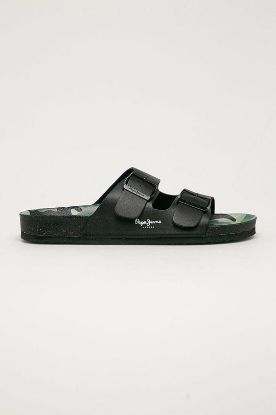 černá Pepe Jeans - Kožené pantofle Bio Buckles Pánský