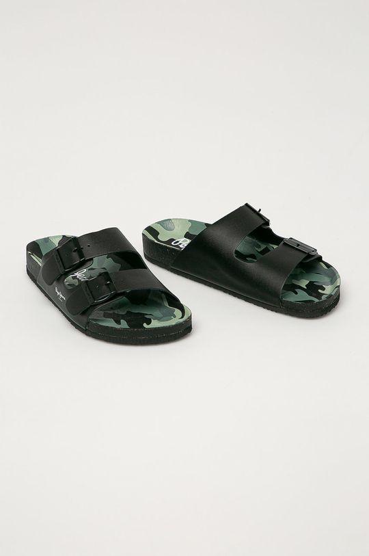 Pepe Jeans - Kožené pantofle Bio Buckles černá