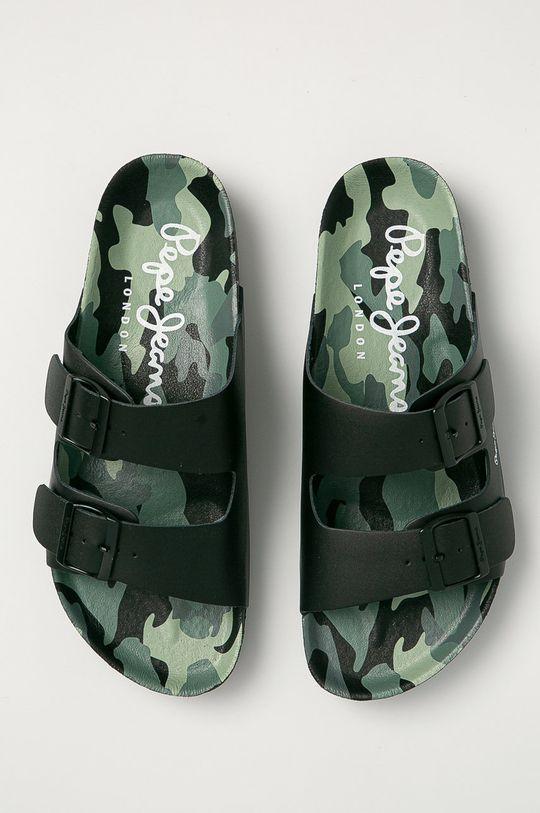 černá Pepe Jeans - Kožené pantofle Bio Buckles