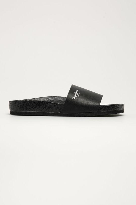černá Pepe Jeans - Kožené pantofle Bio Light Vamp Pánský