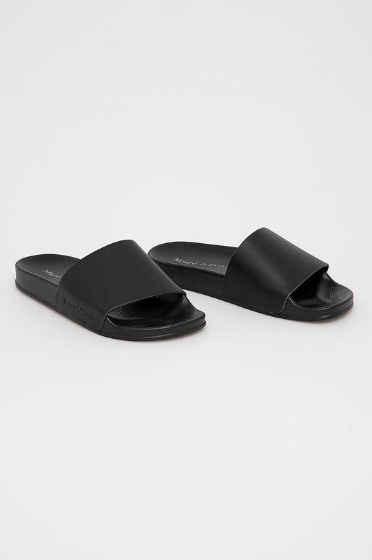Marc O'Polo - Kožené pantofle černá