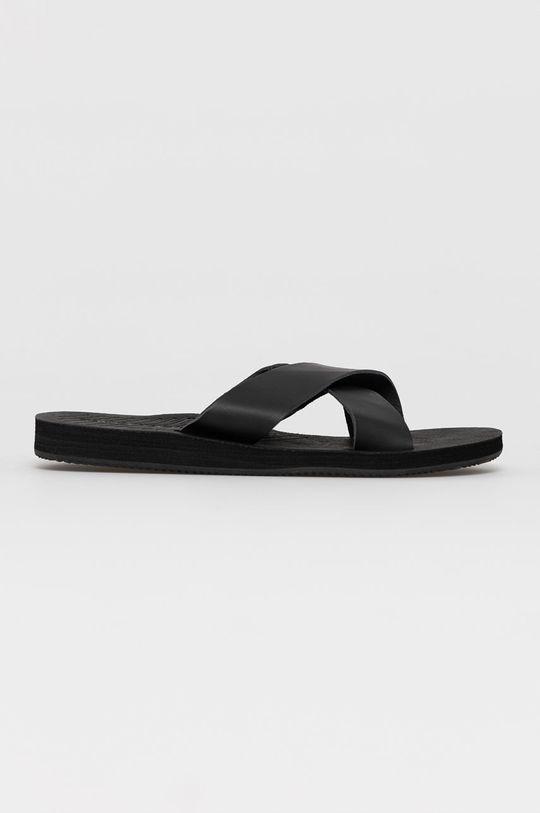 černá Jack & Jones - Kožené pantofle Pánský