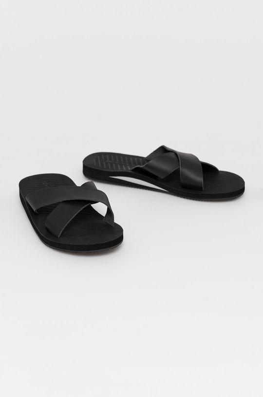 Jack & Jones - Kožené pantofle černá