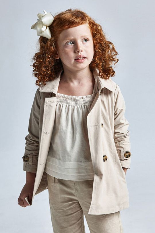 piaskowy Mayoral - Trencz dziecięcy Dziewczęcy