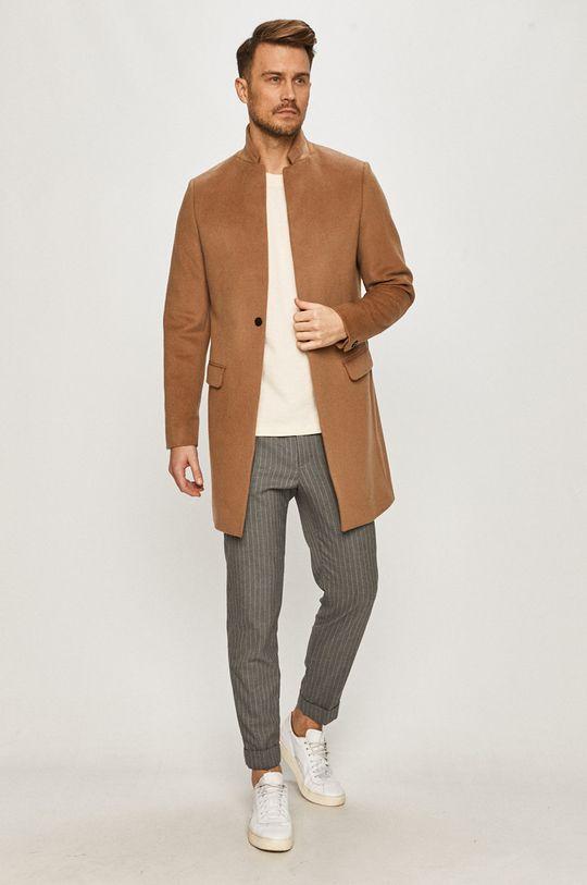 AllSaints - Płaszcz złoty brąz