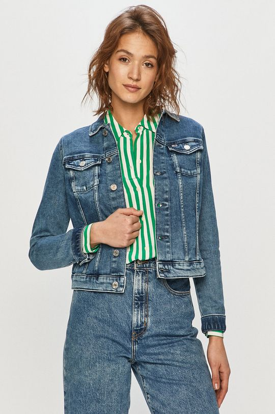 modrá Tommy Jeans - Rifľová bunda Dámsky
