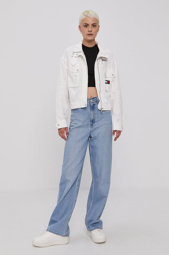Tommy Jeans - Rifľová bunda biela