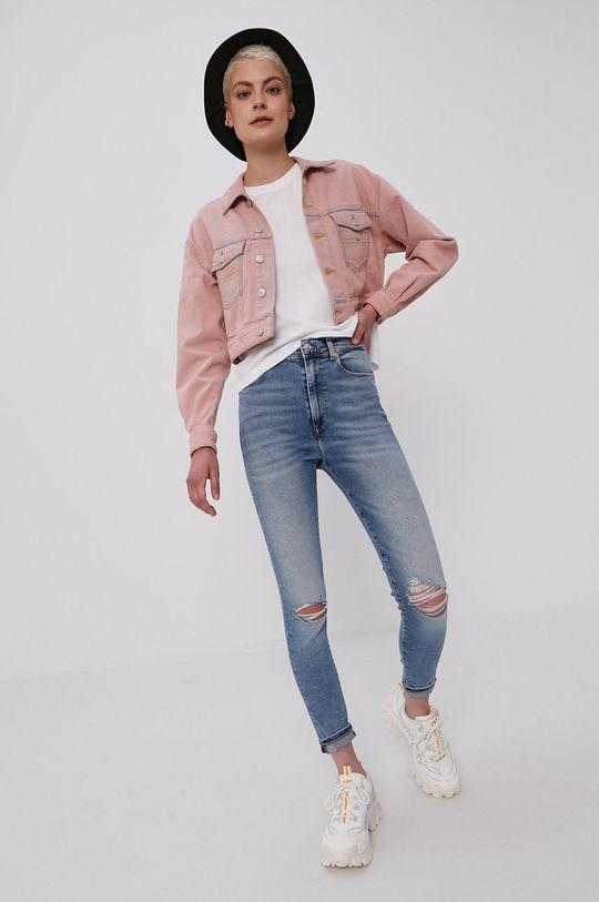 Tommy Jeans - Rifľová bunda ružová
