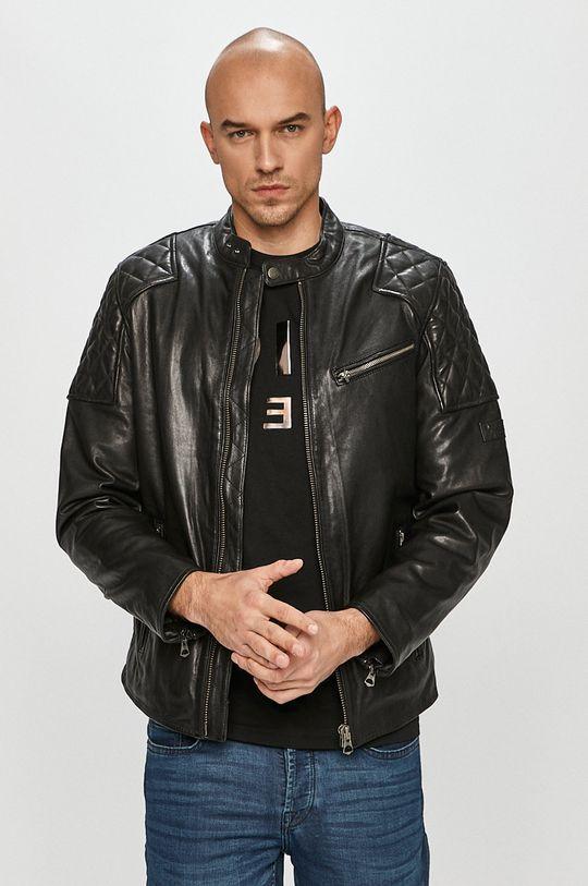 černá Pepe Jeans - Kožená bunda Donnie Pánský