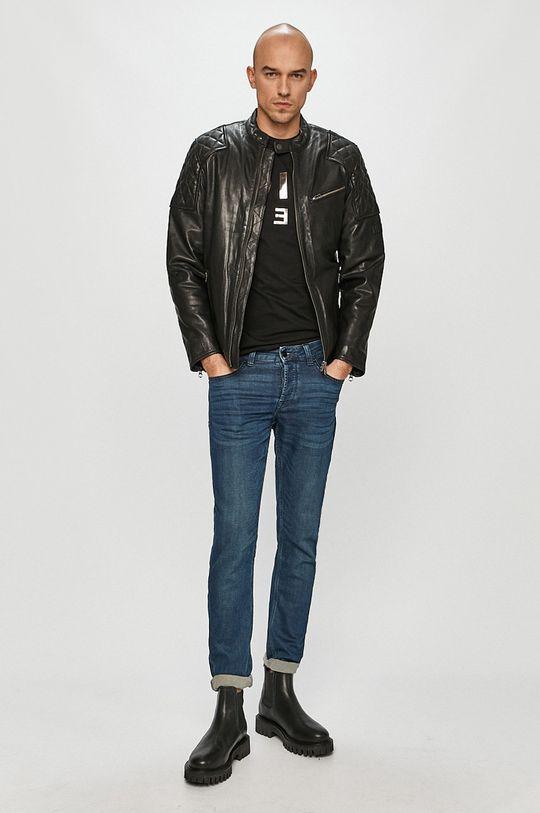 Pepe Jeans - Kožená bunda Donnie černá