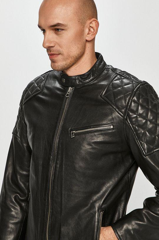 černá Pepe Jeans - Kožená bunda Donnie