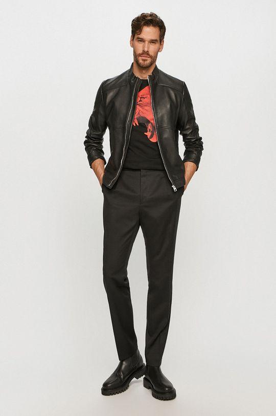 Hugo - Kožená bunda čierna