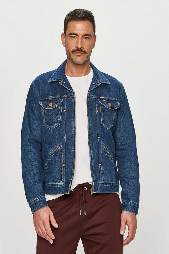 granatowy Wrangler - Kurtka jeansowa Męski