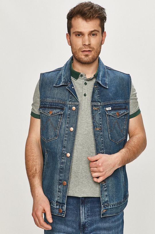 granatowy Wrangler - Bezrękawnik jeansowy