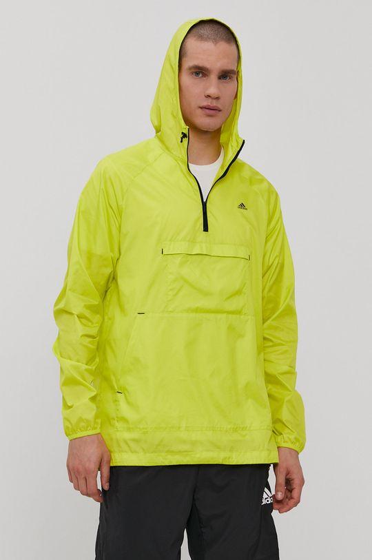 żółto - zielony adidas - Kurtka Męski