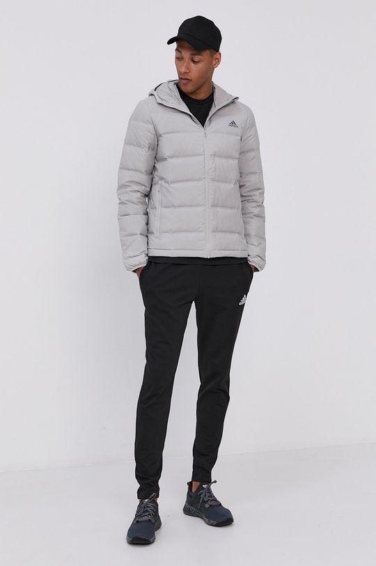 adidas Performance - Péřová bunda světle šedá