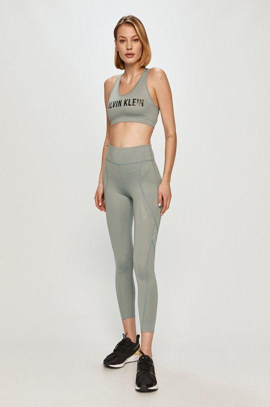 Calvin Klein Performance - Legíny tlumená zelená