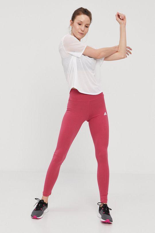 różowy adidas - Legginsy
