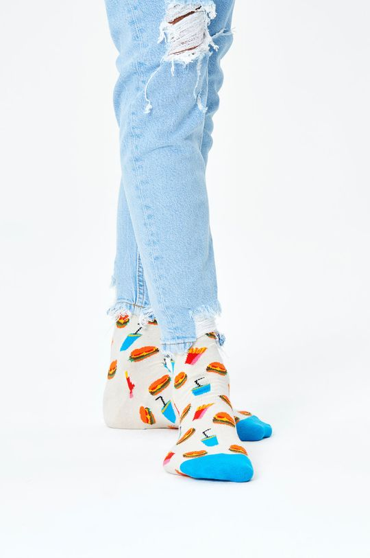 bílá Happy Socks - Ponožky Hamburger Sock Pánský