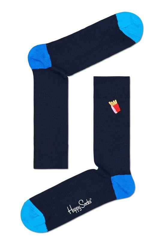 granatowy Happy Socks - Skarpety Ribbed Embroidery Fries Męski
