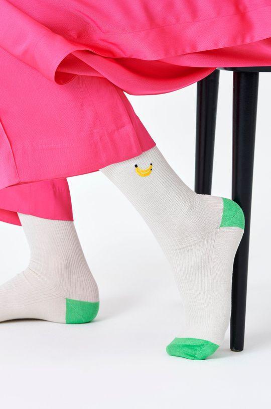 bílá Happy Socks - Ponožky Ribbed Embroidery Banana Pánský