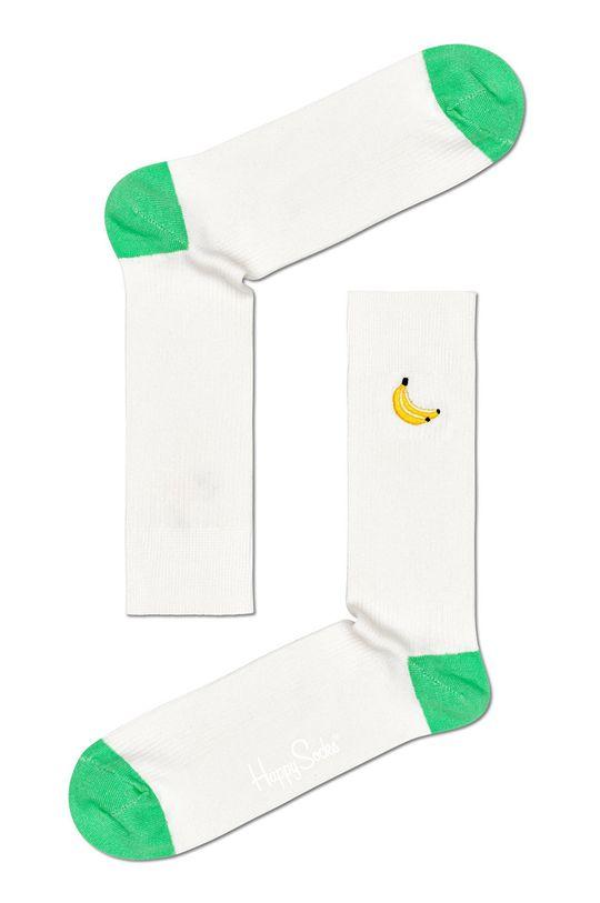 Happy Socks - Ponožky Ribbed Embroidery Banana bílá
