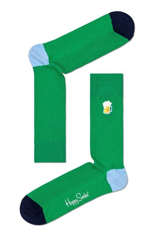 zielony Happy Socks - Skarpety Ribbed Embroidery Beer Męski