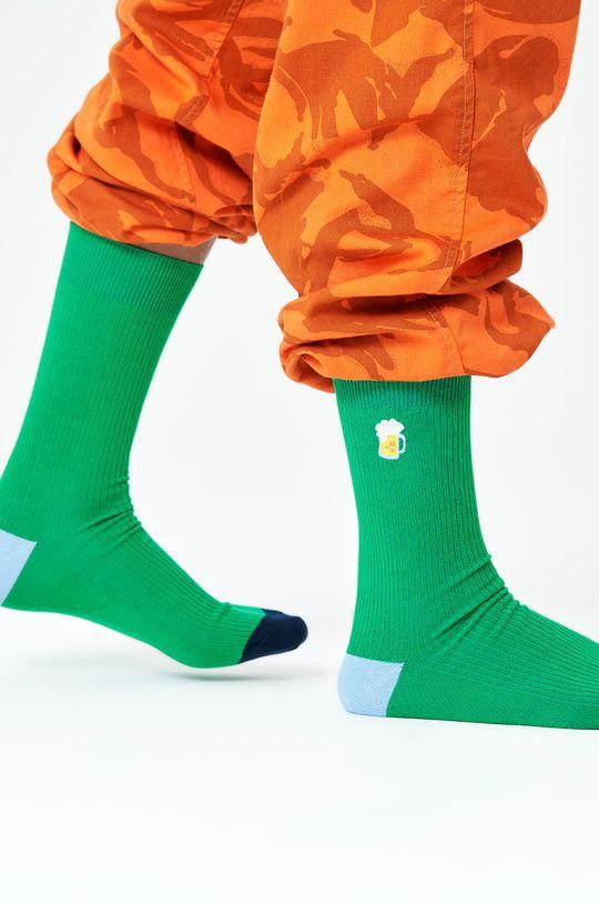 Happy Socks - Skarpety Ribbed Embroidery Beer zielony