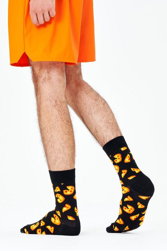 černá Happy Socks - Ponožky Pizza Half Crew Pánský