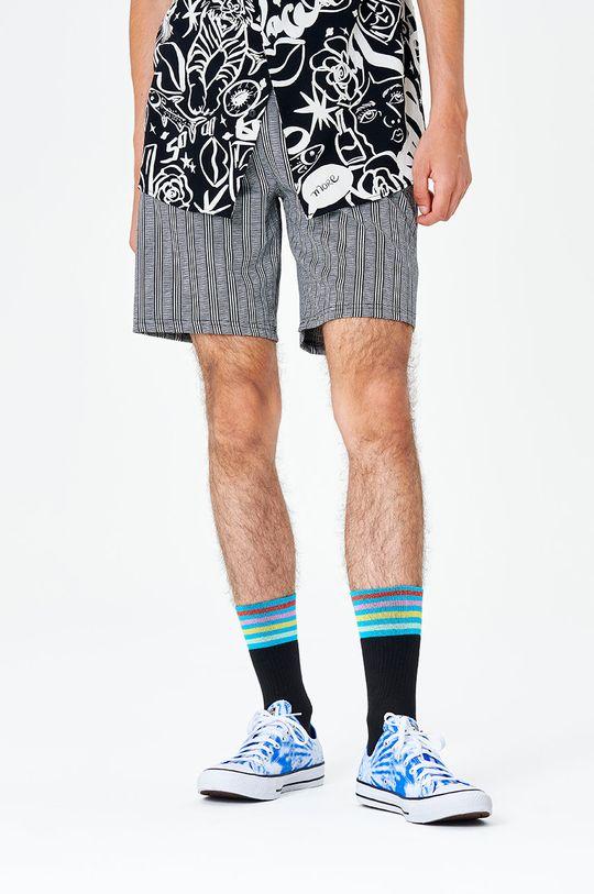 černá Happy Socks - Ponožky Colour Cuff 3/4 Crew Pánský